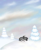 Paesaggio di inverno con il corvo Immagine Stock Libera da Diritti