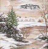 Paesaggio di inverno con il fiume illustrazione di stock
