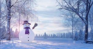 Paesaggio di inverno con il pupazzo di neve, fondo di Natale