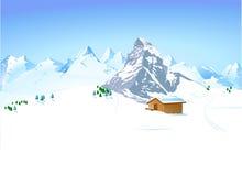 Paesaggio di inverno con il riparo Immagini Stock