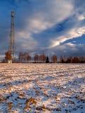 Paesaggio di inverno con l'antenna immagine stock libera da diritti