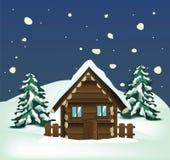 Paesaggio di inverno con la Camera di legno Immagini Stock
