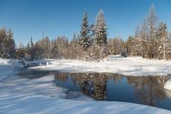 Paesaggio di inverno con la corrente e le riflessioni Fotografia Stock