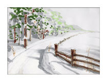 Paesaggio di inverno con la foresta Fotografia Stock