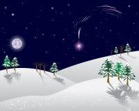 Paesaggio di inverno con la stella di natale. Fotografia Stock Libera da Diritti