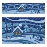 Paesaggio di inverno con le case Illustrazione Racconto di inverno illustrazione di stock