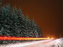 Paesaggio di inverno con le lampadine vaghe movimento Fotografie Stock Libere da Diritti