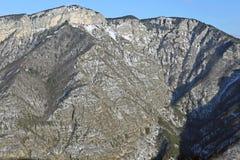 Paesaggio di inverno con le montagne e le foreste ricoperte in neve dentro Immagini Stock