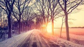 Paesaggio di inverno con lo sguardo di colore Immagine Stock