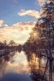 Paesaggio di inverno con lo sguardo di colore Fotografie Stock Libere da Diritti