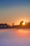 Paesaggio di inverno con lo sguardo di colore Immagini Stock