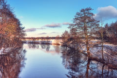 Paesaggio di inverno con lo sguardo di colore Immagine Stock Libera da Diritti