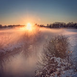 Paesaggio di inverno con lo sguardo di colore Fotografia Stock Libera da Diritti