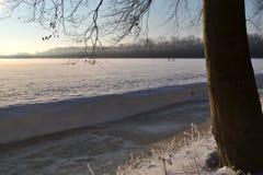 Paesaggio di inverno con neve. Immagine Stock