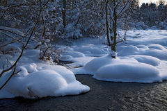 Paesaggio di inverno con un fiume Fotografie Stock