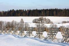 Paesaggio di inverno con una rete fissa Fotografia Stock Libera da Diritti