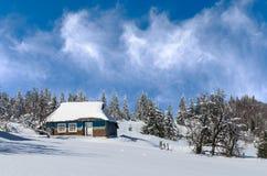 Paesaggio di inverno Cottage solo sui precedenti della foresta di inverno fotografia stock libera da diritti