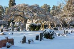Paesaggio di inverno del cimitero Fotografie Stock