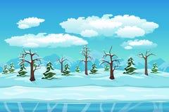 Paesaggio di inverno del fumetto con ghiaccio, neve e nuvoloso Fotografie Stock Libere da Diritti