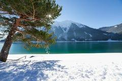 Paesaggio di inverno del lago mountain Fotografia Stock