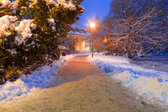 Paesaggio di inverno del parco nevoso a Danzica Immagini Stock Libere da Diritti