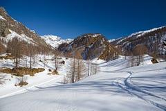 Paesaggio di inverno della montagna in neve Fotografie Stock