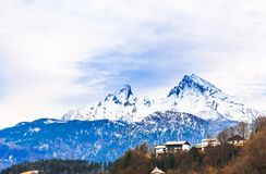 Paesaggio di inverno della montagna di Watzmanm nelle alpi bavaresi Fotografia Stock Libera da Diritti