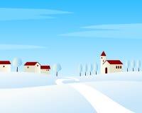 Paesaggio di inverno della strada campestre Fotografia Stock