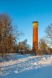 Paesaggio di inverno della torre dell'allerta Fotografia Stock