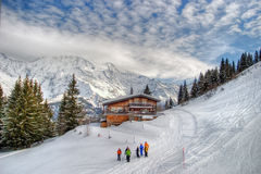Paesaggio di inverno delle alpi Fotografia Stock