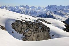 Paesaggio di inverno delle montagne della neve il giorno soleggiato Ifen, Baviera Fotografia Stock Libera da Diritti