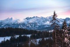 Paesaggio di inverno di alte montagne di Tatra al crepuscolo Fotografia Stock Libera da Diritti