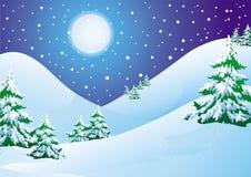 Paesaggio di inverno di notte Immagini Stock Libere da Diritti