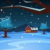 Paesaggio di inverno di notte Fotografie Stock