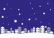 Paesaggio di inverno di notte della città Immagini Stock