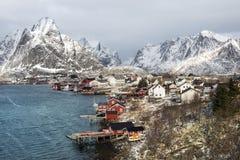 Paesaggio di inverno di piccolo porto di pesca Reine sulle isole di Lofoten, immagine stock libera da diritti