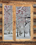 Paesaggio di inverno di Snowy nel telaio di una finestra di legno rustica Fotografia Stock