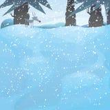 Paesaggio di inverno di vettore con gli alberi di pino   Fotografia Stock