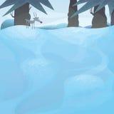 Paesaggio di inverno di vettore con gli alberi di pino Immagine Stock Libera da Diritti