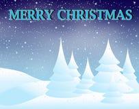 Paesaggio di inverno e Buon Natale Immagine Stock