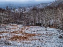 Paesaggio di inverno e strade innevate nelle montagne Fotografie Stock Libere da Diritti