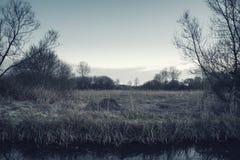 Paesaggio di inverno elaborato bello incrocio durante l'alba Immagini Stock