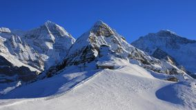 Paesaggio di inverno in Grindelwald, alpi svizzere Fotografia Stock Libera da Diritti