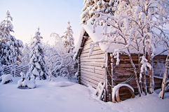 Paesaggio di inverno in Lapponia Immagine Stock Libera da Diritti