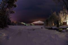 Paesaggio di inverno in Lapponia del Nord Fotografie Stock