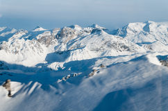 Paesaggio di inverno, Meribel, Francia Fotografie Stock