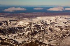 Paesaggio di inverno, montagna della neve di vista aerea Fotografia Stock Libera da Diritti