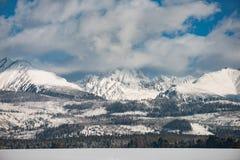 Paesaggio di inverno, montagna innevata Immagini Stock