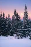 Paesaggio di inverno in montagne con la luna piena ed il cielo rosa Fotografia Stock
