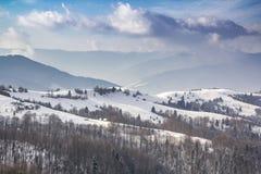 Paesaggio di inverno, montagne nevose coperte di abetaia fotografie stock